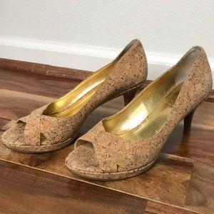 Nine West cork open toed heels 👠 size 8